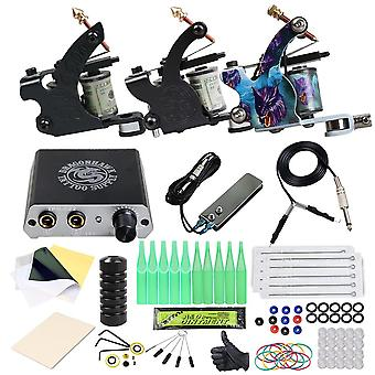 Tattoo Kit Machines Gun Set Power Supply Grips