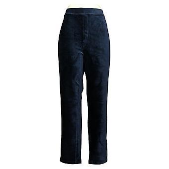 Susan Graver Kvinder 's Bukser Strik Fløjlsbukser Lige Ben Pull On Blue A297161