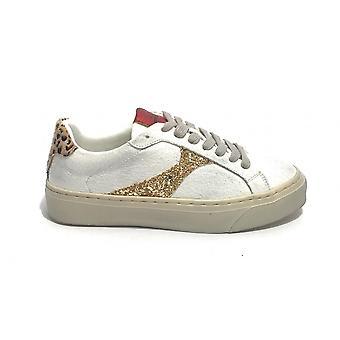 Женская обувь Кроссовки Золото&золото Ecopelle Белый/ Золото/ Леопард Ds21gg14