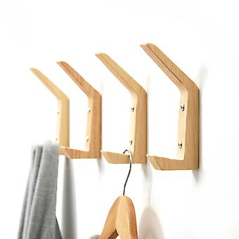 4pcs Wooden Wall Hangers Clothes Hanging Hooks