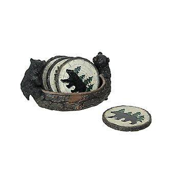 Set of 4 Black Bear Tree Slice Coasters With Matching Holder