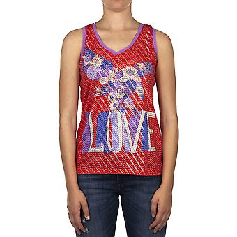Custo Barcelona Women Tank top Daled Top Love Red Multicolor
