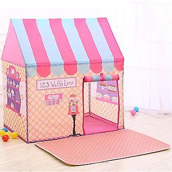 الأطفال المنزلية الطباعة لعب خيمة لعبة صغيرة البيت مع حصيرة (الوردي)