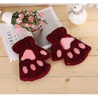 New Women Cute Cat Claw Paw, Warm, Soft Short Fingerless Gloves