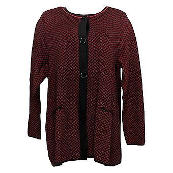 Susan Graver Women's Sweater Jacquard Cardi w/Snap Closure Black A344846