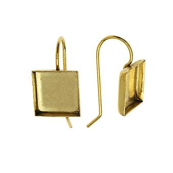 Final Sale - Earring Wire, Square Bezel 10mm, Antiqued Gold, 1 Pair, by Nunn Design