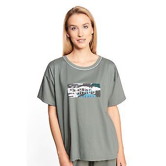 3211041-10021 Női olíva motívum pamut pizsama felső