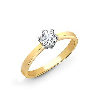 Jewelco London Ladies Solid 18ct Yellow Gold 6 Claw Set Round G SI1 0.15ct Diamond Solitaire Engagement Ring 4mm