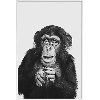 JUNIQE Print -  Chimpanzee II - Affen Poster in Grau & Schwarz