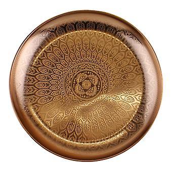 Dekorative Kupfer Metall Tablett mit geätztem Design