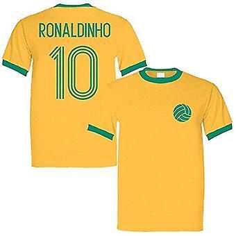 Sporting empire ronaldinho 10 brazil legend ringer retro t-shirt yellow/green - large