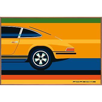 JUNIQE Print -  Porsche Back - Autos Poster in Bunt
