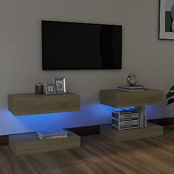 vidaXL TV-kaapit LED-valoilla 2 kpl. Sonoma tammi 60x35 cm