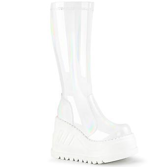 Demonia Women's Boots STOMP-200 Wht Hologram Stretch Brevet