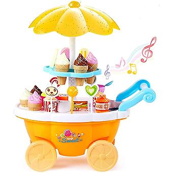 Ice Cream Toy Cart Play Set For Kids - 39-piece Pretend Play Food