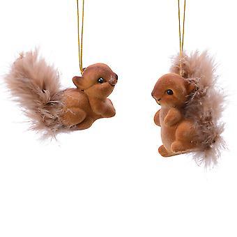 Paket med 2 ekorre jul hängande dekorationer