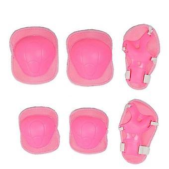 (Pink) 6Pcs Kids Cycling Bike Elbow Wrist Knee Pads Protective Gear Helmet Skate Sports