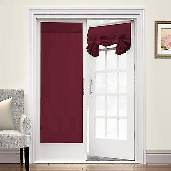 2X french door curtains thermal insulated door panel privacy door shade tricia curtain for door window curtains, burgundy