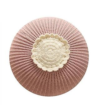 Knitted Circular Children's Toy Pillow Model Room Decorative Cushion(Pink)
