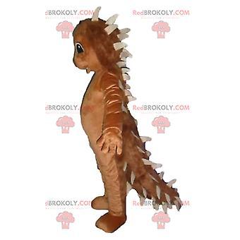 Mascote REDBROKOLY.COM ouriço marrom com espadas na parte de trás