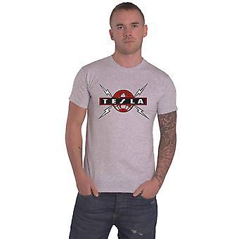 Tesla T Shirt Globe Band Logo new Official Mens White