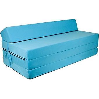 Taitettava patja tyynyllä - Pestävä kansi - 200cm x 120cm x 10cm - Sininen