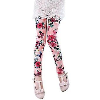Flickor leggings sommarblomma tryckt (1-3 år)(Rosa)