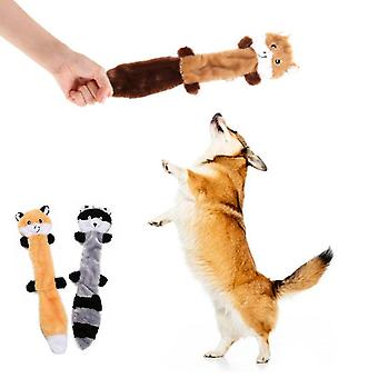 3PCS Dog Toy  Pet Plush Dog Cat Toys Fox Raccoon Squirrel Dolls Pet Supplies