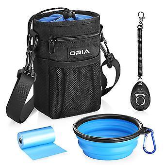 Oria Outdoor Pet Dog Carrier Bag Cão Treinando Bolsa de Estimação Bolsa de cintura com saco de armazenamento impermeável Strap Dog Bowl Impermeável
