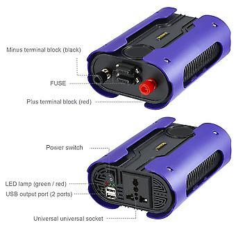 Leshp Blue 500w 12v til 110v 220v Ren Sine Wave Power Inverter med 2 Usb-port