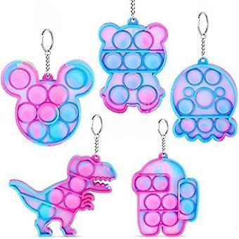 5pcs mini push pops boble sensorisk leketøy nøkkelring
