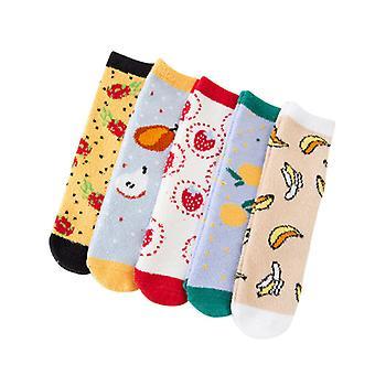 Evago 3 par / 5 par søt frukt plysj tøfler sokker kvinner - fargerike varme fuzzy mannskap sokker koselig myk for vinteren innendørs julegave til kvinner