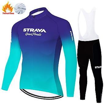 Strava Men's Long Sleeve Cycling Jerse Full Sleeve Winter Thermal Cold Wear Fleece Set /blue