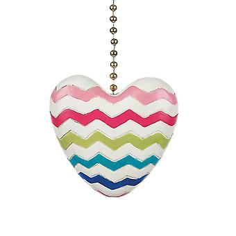 Colorful Chevron Heart Decorative Ceiling Fan Light Dimensional Pull