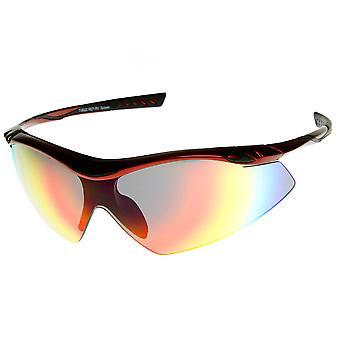 عدسة مرآة فلاش TR-90 كبيرة مؤطرة شبه الرياضية درع النظارات الشمسية