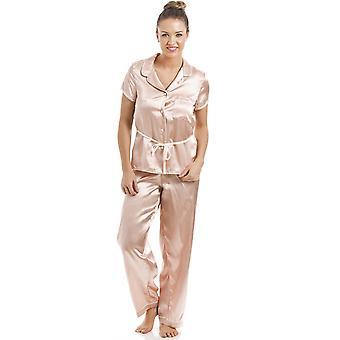 カミーユ サーモン ピンク半袖ベルト サテン パジャマ セット