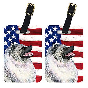 Pair of USA American Flag with Keeshond Luggage Tags