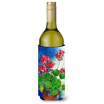 Géraniums par Maureen Bonfield Wine Bottle boissons isolant Hugger