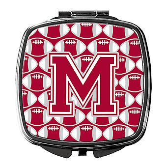 Letter M Football Crimson, grey and white Compact Mirror
