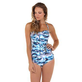 Seaspray 05-2098 vrouwen Casablanca blauw en Beige Storm Print vormgeven badpak