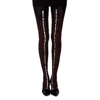 Zohara ZOR290-BBUG Women's Cross It Burgundy and Gold Geometric Print Tights