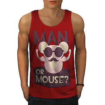 Man Or Mouse Gym Sport Men RedTank Top | Wellcoda