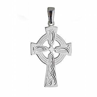 Sølv 40x29mm hånd gravert knute mønster keltisk kors med kausjon