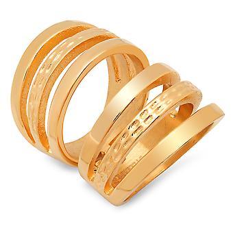 السيدات 18 ك قص الفولاذ المقاوم للصدأ مطلي الذهب خاتم التفاف
