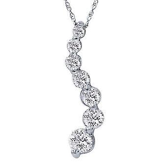 1 1/2 ct 本物のダイヤモンドの旅ペンダント 14 K ホワイトゴールド新しい