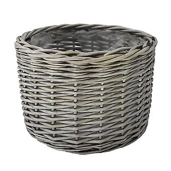 Small Round Antique Wash Wicker Planter