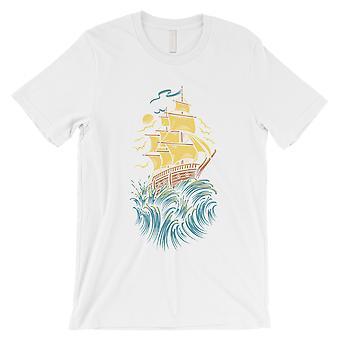 Seilbåt Mens White Grafisk Design bomull t-skjorte morsomme gaver