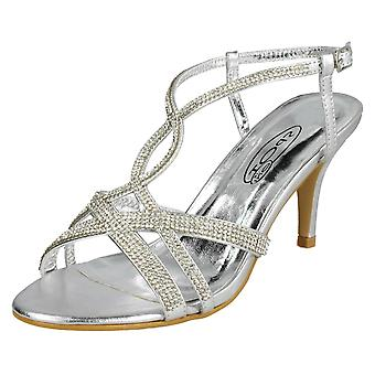 Ladies Spot On Diamante Sandals F10838 - Silver Synthetic - UK Size 5 - EU Size 38 - US Size 7