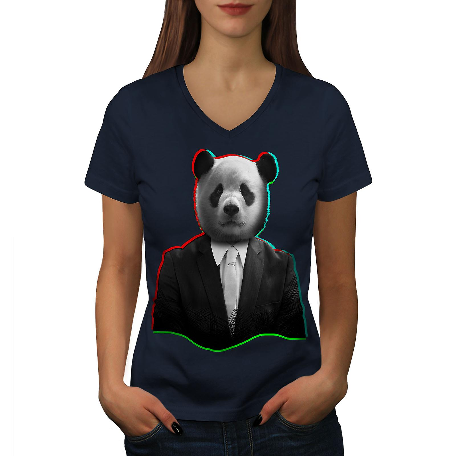 Costume de Panda bête Animal femmes NavyV-Neck T-shirt | Wellcoda