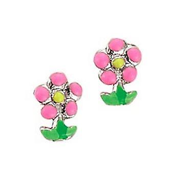 Spejder børn øreringe øre cutter sølv blomst Pink pige 262111100